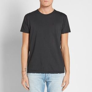 SAINT LAURENT Black Distressed Logo T-Shirt XXL